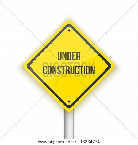 Under Construction Vector Road Sign Background. Website Maintana