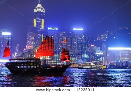 HONG KONG - NOVEMBER 10, 2011: Nighttime city view of the Hong Kong Island. Hong Kong, is an autonomous territory on the southern coast of China at the Pearl River Estuary and the South China Sea
