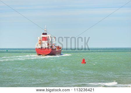 Red Cargo Ship (tanker) Is Sailing Near Vlissingen, The Netherlands