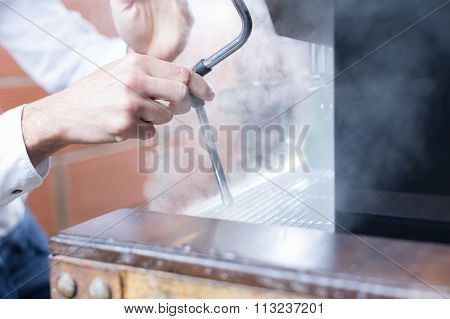 Bartender Working With Steam Coffee Sprayer