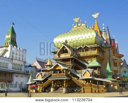 MOSCOW - MARCH 25 2014: Wooden palace in Izmaylovskiy Kremlin in region Izmaylovo - architecture ensamble of original wooden buildings cultural and entertainment center vernisage of art and crafts; famous tourist landmark has been built in 2007.