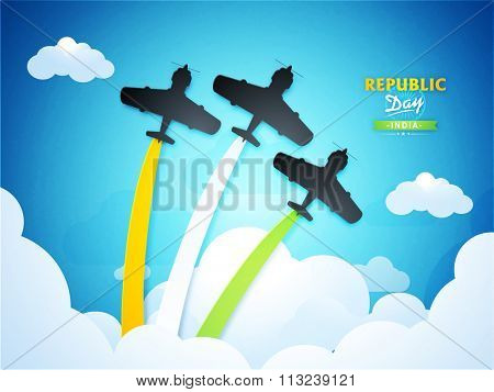 Glossy fighter planes making Indian National Tricolour in the sky for Happy Republic Day celebration.