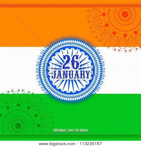 Creative Ashoka Wheel with stylish text 26 January on floral design decorated shiny tricolour background for Happy Indian Republic Day celebration.