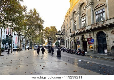 BARCELONA, SPAIN - NOVEMBER 20, 2015: streets of Barcelona. Barcelona is a city on the coast of northeastern Spain, capital of Catalonia and Spain's second most populated city