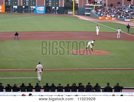 Giants Pitcher Barry Zito Looks In Toward Catcher With Runner On First