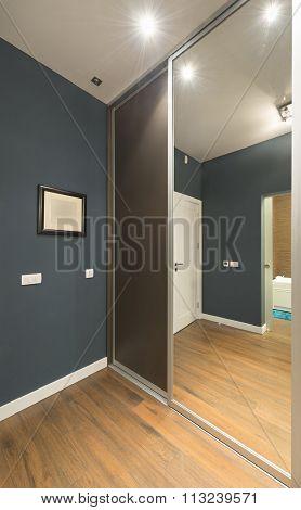 Wardrobe Interior With Large Mirror Door