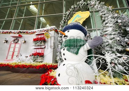 HONG KONG - DECEMBER 24, 2015: Christmas decorations in Hong Kong Airport. Hong Kong International Airport is the main airport in Hong Kong. It is located on the island of Chek Lap Kok