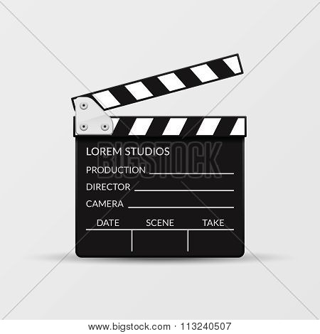 Realistic vector movie clapperboard