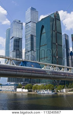 MOSCOW - MAY 23, 2010: modern buildings and Bagration bridge in business centre Moscow-city, has been built in 2010.