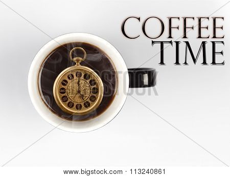 Coffee Time Concept - Watch Inside Mug On White 5 O'clock