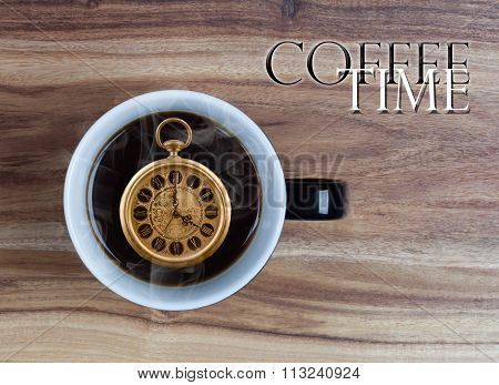 Coffee Time Concept - Watch Inside Mug 4 O'clock