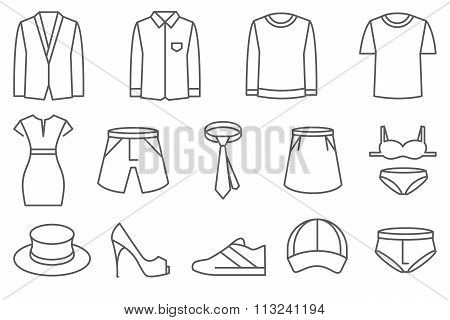 Clothes vector line icons set