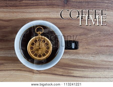 Coffee Time Concept - Watch Inside Mug 8 O'clock
