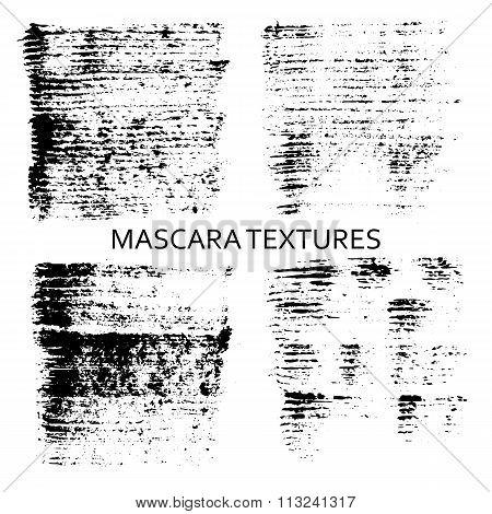 Set of 4 artistic mascara textures.