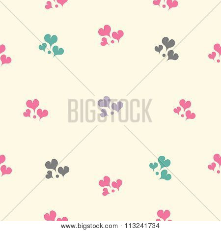 Beautiful vector seamless pattern with hearts