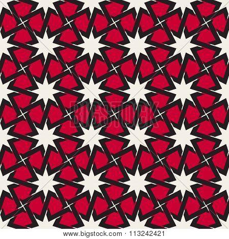 Vector Seamless  Black White Red Color Islamic Interlacing Line Star Geometric Pattern