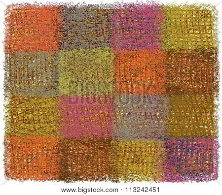Woollen Fluffy Blanket With Colorful Weave Restangular Elements