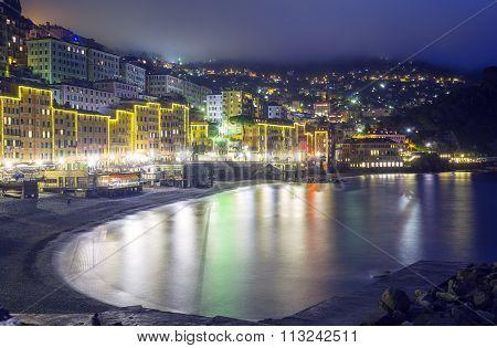 Camogli, Genoa, winter night view. Color image