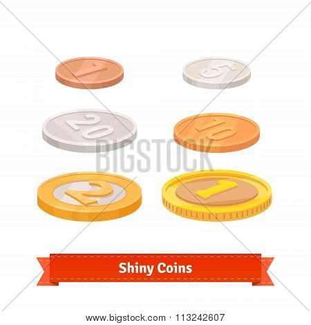 Coins set of various faces