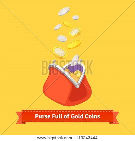 Coins falling to a retro money purse