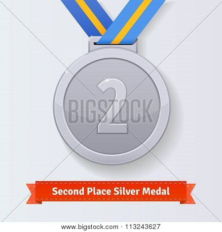Second place award silver medal with blue ribbon