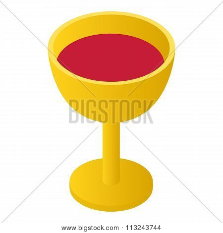 Gold cup with wine isometric 3d icon