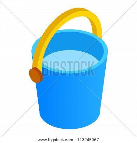 Bucket of water isometric 3d icon