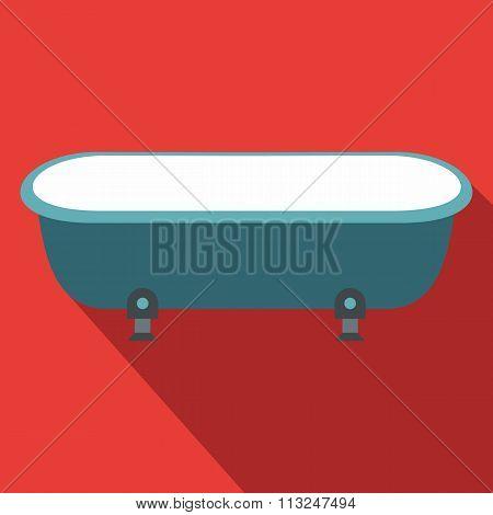 Blue bathtub, flat design