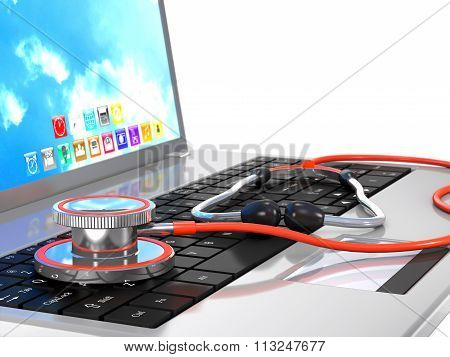 Stethoscope And Laptop As A Concept Of Security.
