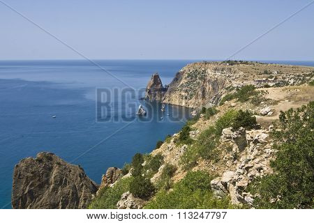 Sea landscape with rocks recorded in place Fiolent in region Crimea on Black sea.