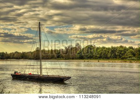 Wooden Boat On Loire Valley