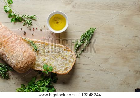 Sliced bread ciabatta