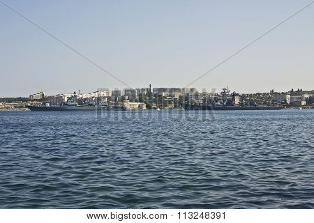 SEVASTOPOL, CRIMEA, UKRAINE - JULY 22, 2010: Russian military ships recorded on navy parade in Sevastopol in Crimea on Black sea.