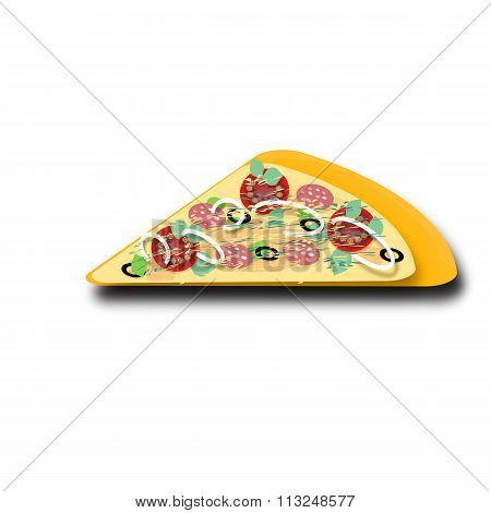A piece of delicious pizza. Advertising cafe. restaurant, pizzeria