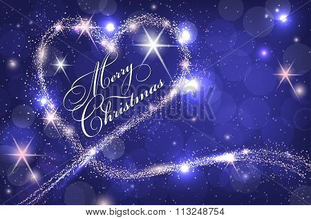 Blue Merry Christmas Card With Abstract Sparkle Heart