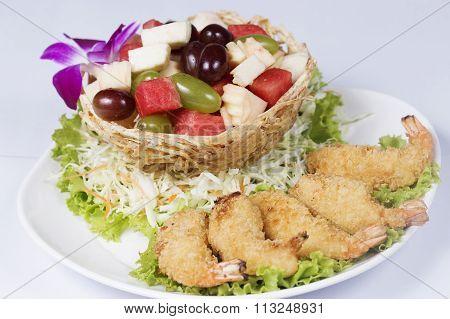 Deep Fried Shrimp Fruit Salad