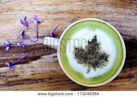 Close Up Cup Of Matcha Green Tea Latte Art
