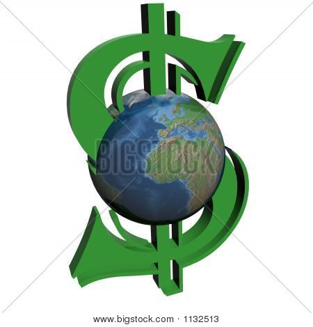 Money And World. 3D Image.