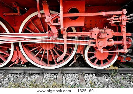 Old Red Train Driving Wheel