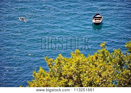Woman Swimming In Lake Ohrid In Summertime