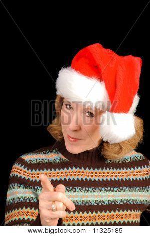 woman in santa hat scolding