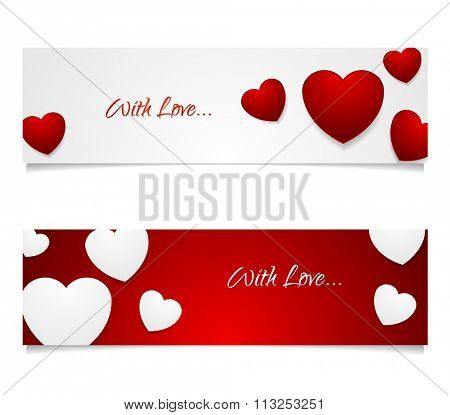 Valentine Day graphic design illustration. White and red web banners with contrast color hearts. Vector greeting card background