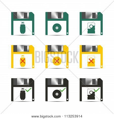 Icons Save, Vector Illustration.