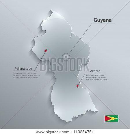Guyana map flag glass card paper 3D vector