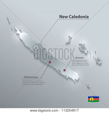 New Caledonia map flag glass card paper 3D vector