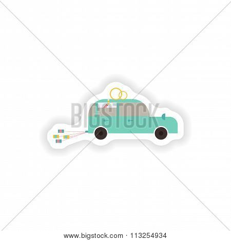 stylish paper sticker on white background Honeymoon car