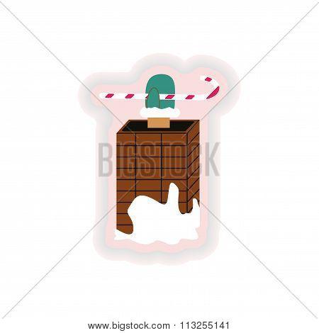stylish paper sticker on white background Santa in chimney