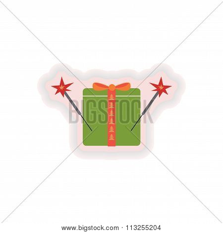 stylish paper sticker on white background gift sparklers
