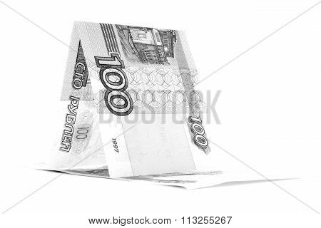Russian Cash Ruble Hovel, Rouble Wickiup Isolated On White Background