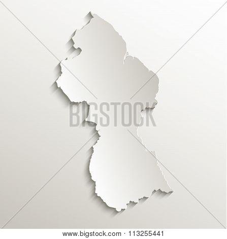 Guyana map card paper 3D natural raster